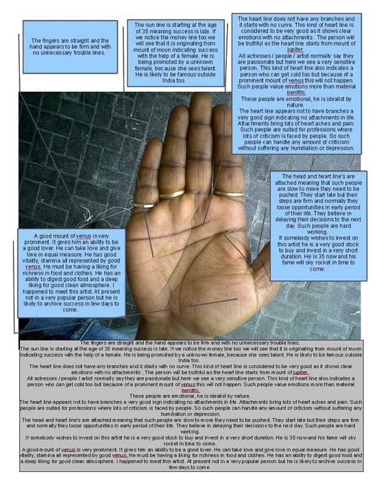 Learn Palmistry : Palm Reading of an Upcoming Artist