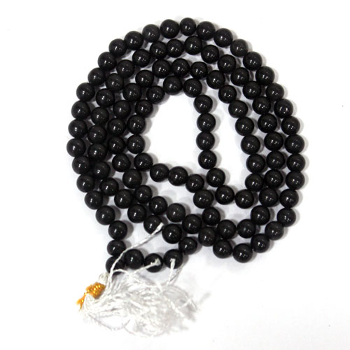 Kale Hakik Ki Mala - Black Agate Rosary